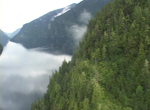 An aerial over a gorgeous Alaskan fjord Footage