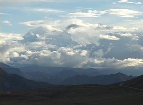 Mt. McKinley in Denali National Park, Alaska in clouds Stock Video Footage