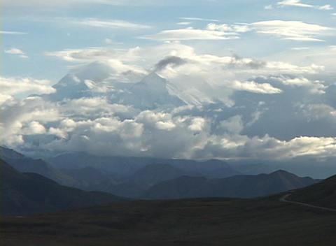 Mt. McKinley in Denali National Park, Alaska in clouds Footage