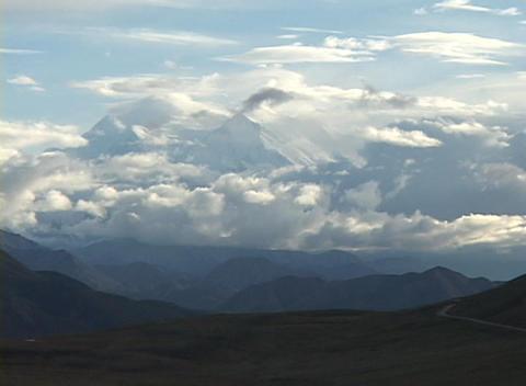 Mt. McKinley in Denali National Park, Alaska in clouds Stock Video Footage