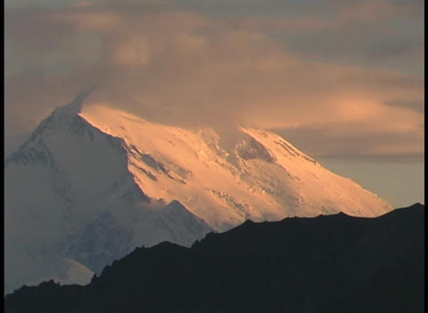 Mt. McKinley in Denali National Park, Alaska in clouds at... Stock Video Footage