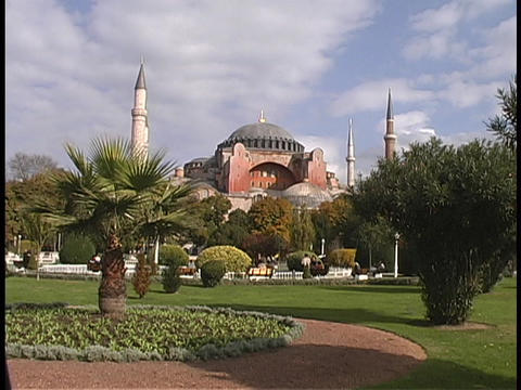 The Hagia Sophia mosque rises above Istanbul, Turkey Stock Video Footage