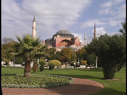 The Hagia Sophia mosque rises above Istanbul, Turkey Footage