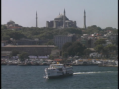 A Hagia Sophia Ferry Boat floats in the harbor Stock Video Footage