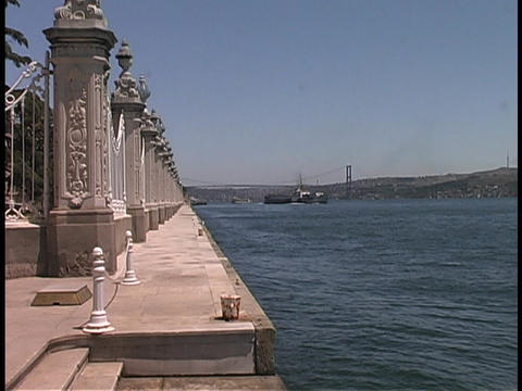 A dock stands by the Bosporus Straits of Istanbul, Turkey Stock Video Footage
