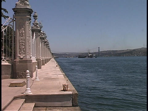 A dock stands by the Bosporus Straits of Istanbul, Turkey Live Action