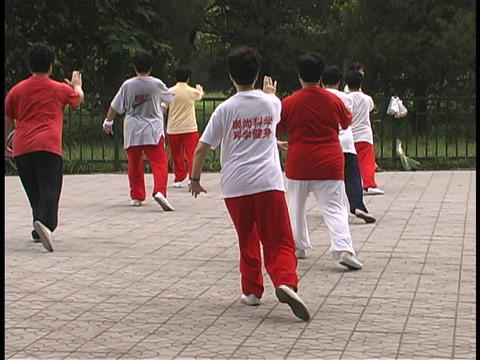 Chinese men and women practice Tai Chi in a park Footage