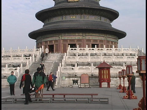 Tourists visit the Temple of Heaven in Beijing, China Stock Video Footage