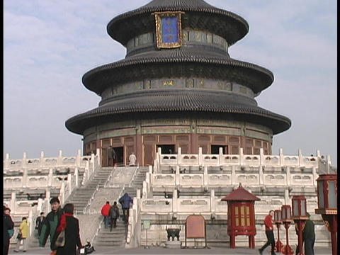 Tourists visit the Temple of Heaven in Beijing, China Footage