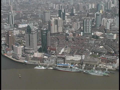 Shanghai borders the Huangpu River in China Stock Video Footage