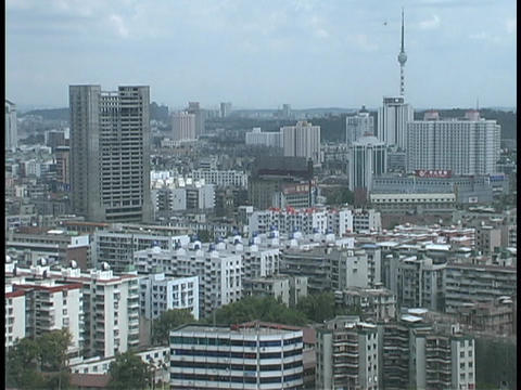 High-rise buildings tower over downtown Wuhan, China Stock Video Footage