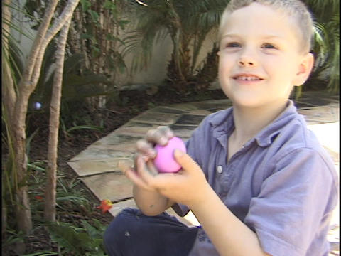A young boy hunts for Easter eggs Stock Video Footage