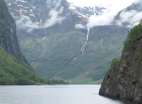 Medium shot of an Alaskan fjord Footage