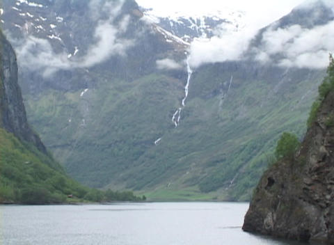 Medium shot of an Alaskan fjord Stock Video Footage