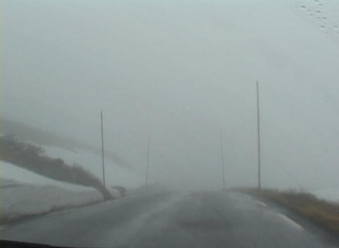 POV while driving through a heavy fog Stock Video Footage