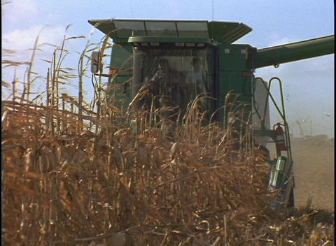 A farmer drives a combine machine cutting down rows of... Stock Video Footage