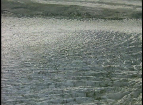 Pressure ridges cover the surface of a glacier Stock Video Footage