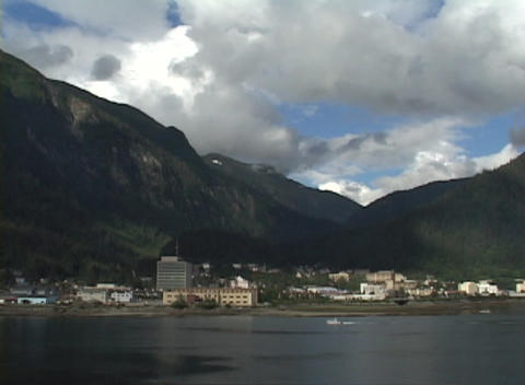 Clouds drift over Juneau, Alaska Stock Video Footage