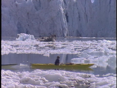 Kayakers paddle through a glacial bay Footage