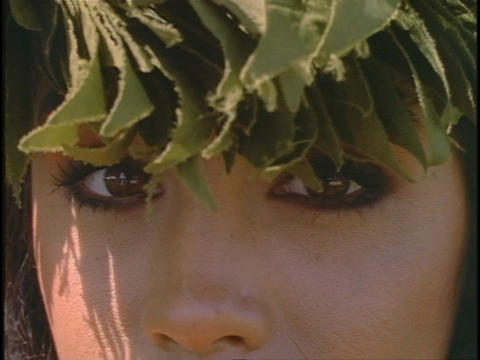 The eyes of a Hawaiian woman look out and about Stock Video Footage