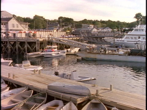 Boats of all sizes are moored at Bar Harbor, Maine Stock Video Footage