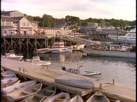 Boats of all sizes are moored at Bar Harbor, Maine Footage