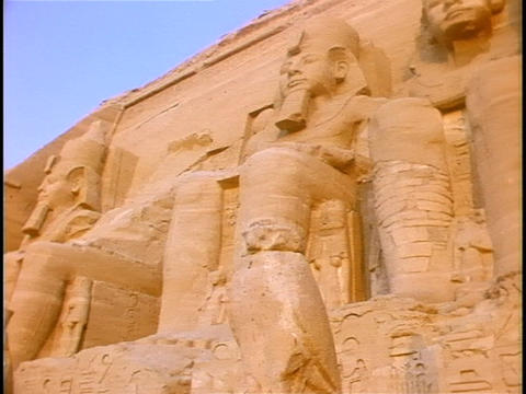 Carvings of Egyptian royalty decorate Kings Tomb in Egypt Stock Video Footage
