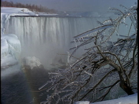 Ice covered branches frame Niagara Falls in the distance Stock Video Footage