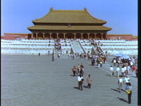 Crowds of visitors walk at Beijing Imperial Palace in China Footage