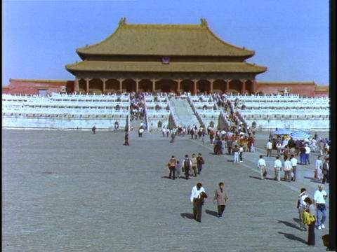 Crowds of visitors walk at Beijing Imperial Palace in China Stock Video Footage