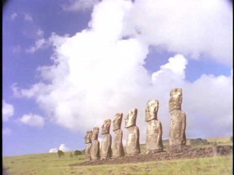 A time lapse shot of the statues at Easter Island Footage