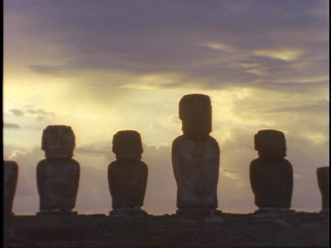 Mysterious Easter Island statues stand like sentinels... Stock Video Footage