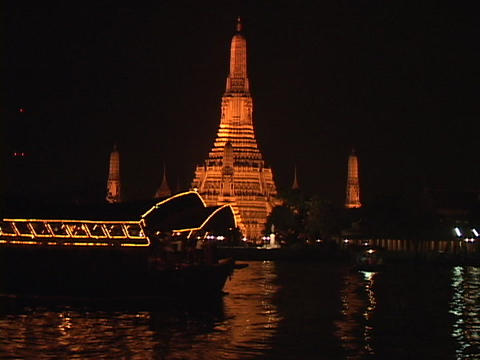A boat travels along the Chao Phraya River in Thailand Footage