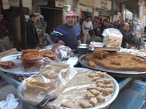 A street vendor sells food in Baghdad Footage