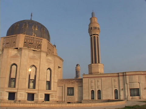 The Mother of All Battles mosque stands as a shrine to Saddam Hussein in Baghdad, Iraq Footage