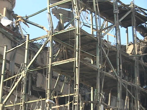 A ruined building stands in war-torn Baghdad, Iraq Footage