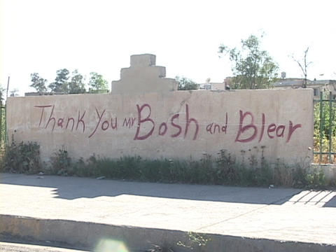 A sign thanks Mr. 'Bosh' and Mr. 'Blear' in Kurdistan, Iraq Stock Video Footage