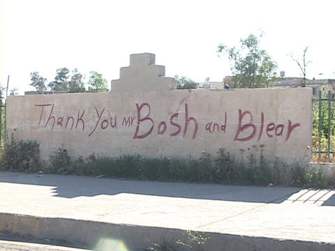 A sign thanks Mr. 'Bosh' and Mr. 'Blear' in Kurdistan, Iraq Footage
