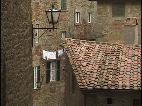 Italian houses have red tile roofs Stock Video Footage