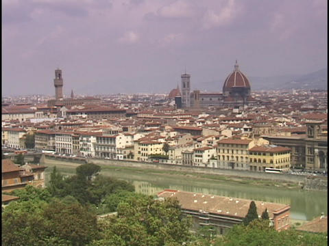 The sun shines on Florence, Italy Footage