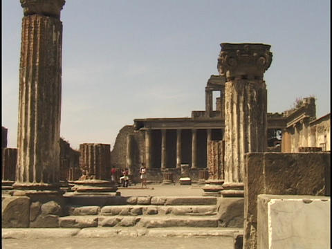 Tourists wander through Pompeii ruins Stock Video Footage