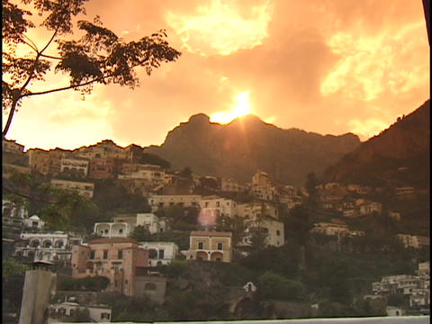 Houses cling to a hillside in Positano, Sicily Footage