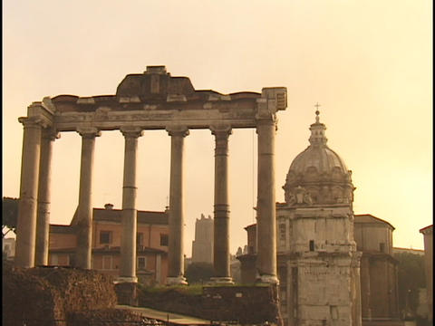 Ruins and a church dominate the skyline in Rome Footage