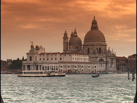 The historic Saint Mark's Square and Santa Maria Della Salute overlook the Grand Canal in Venice, It Footage