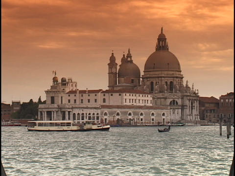 The historic Saint Mark's Square and Santa Maria Della Salute overlook the Grand Canal in Venice, It Live Action