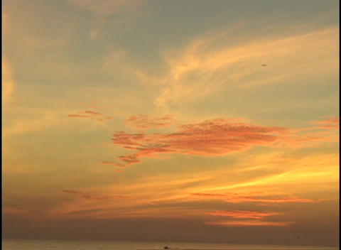 A bird flies across a vivid orange sky Footage