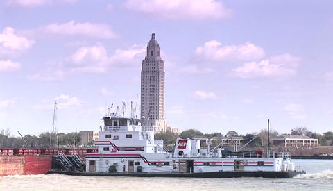 A river barge passes in Baton Rouge, Louisiana Footage