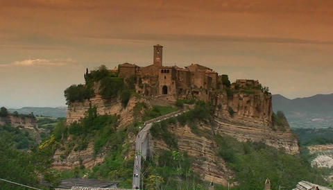 Medieval hill town in Italy Stock Video Footage