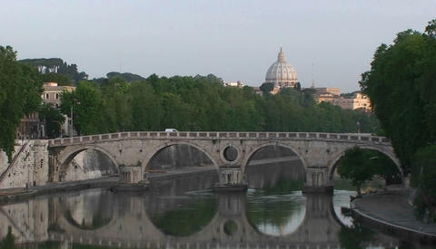 Bridge over the Tiber River in Rome Stock Video Footage