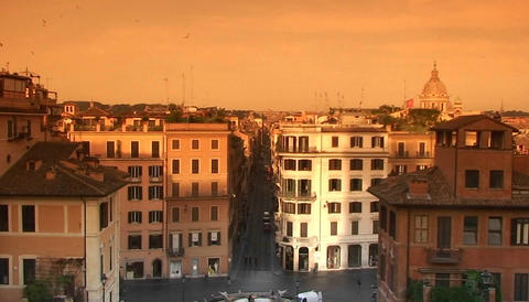 A view of Rome from the Spanish Steps Stock Video Footage
